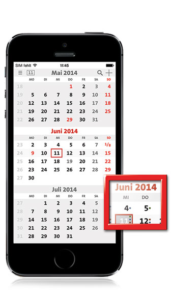 The first mobile 3-Month-Calendar